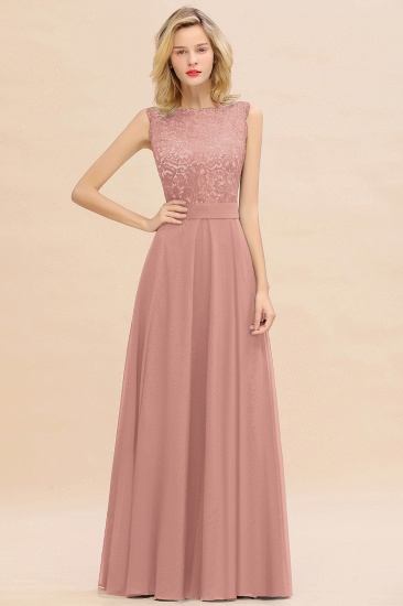 Exquisite Scoop Chiffon Lace Bridesmaid Dresses with V-Back_50