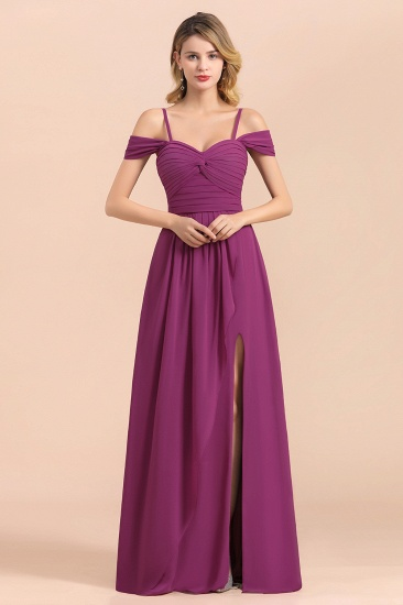 Gorgeous Off-the-Shoulder Ruffle Orchid Bridesmaid Dress Online with Slit_4