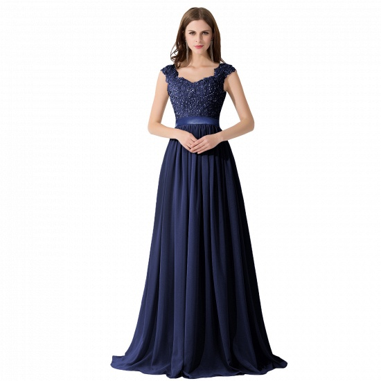BMbridal A-line V Neck Chiffon Bridesmaid Dress with Appliques_6