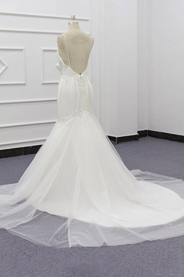 BMbridal Sexy Spaghetti Straps White Mermaid Wedding Dresses Tulle Sleeveless Bridal Gowns With Appliques On Sale_5