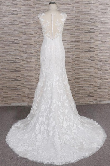 BMbridal Gorgeous Sleeveless Straps Lace Wedding Dresses Jewel Straps Mermaid Bridal Gowns With Appliques On Sale_3