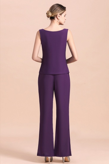 Affordable Straps Beading Grape Chiffon Mother of Bride Jumpsuit Online with Wrap_13