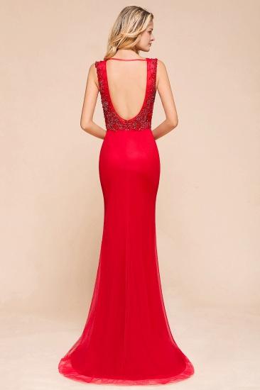 Detachable Red V-Neck Long Prom Dress Sleeveless Beadings Tulle Evening Gowns_6