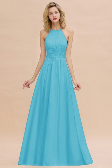 Glamorous Halter Backless Long Affordable Bridesmaid Dresses with Ruffle_24