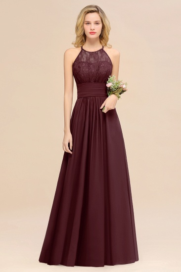 Elegant Halter Ruffles Sleeveless Grape Lace Bridesmaid Dresses Cheap_47
