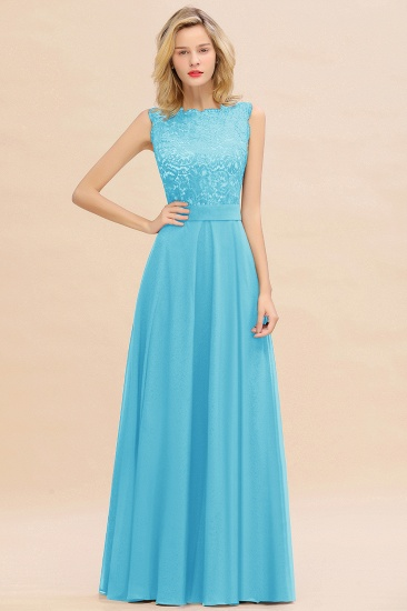 Exquisite Scoop Chiffon Lace Bridesmaid Dresses with V-Back_24