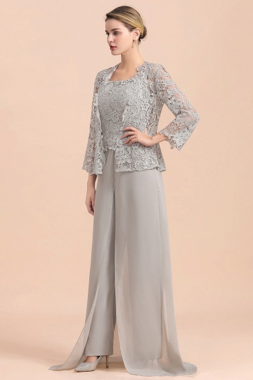 BMbridal Elegant Silver Lace Top Chiffon Mother of Bride Jumpsuit Online with Wrap_5