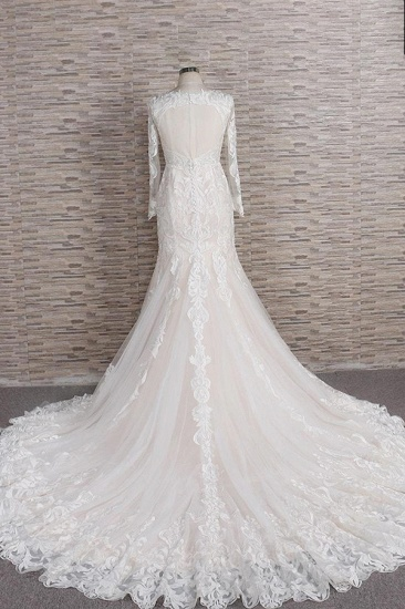 BMbridal Gorgeous Longsleeves V-neck Mermaid Wedding Dresses White Lace Bridal Gowns With Appliques On Sale_3