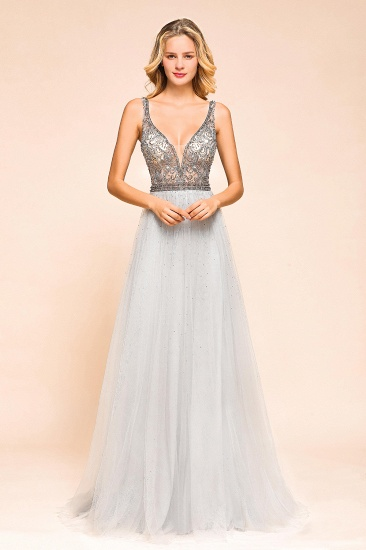 Charming V-Neck Tulle Long Prom Dress With Crystals On Sale_6