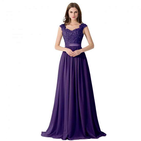 BMbridal A-line V Neck Chiffon Bridesmaid Dress with Appliques_4