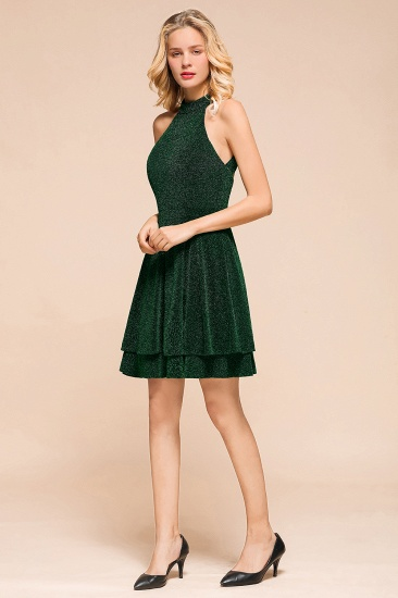 BMbridal Green Shinning Halter Short Prom Dress Mini Party Gowns_6