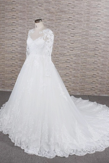 Modest Jewel Longsleeves A-line Wedding Dresses White Tulle Lace Bridal Gowns With Appliques On Sale_4