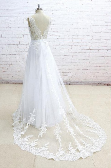 Stylish Sleeveless Straps V-neck Wedding Dresses White A-line Tulle Bridal Gowns With Appliques On Sale_5