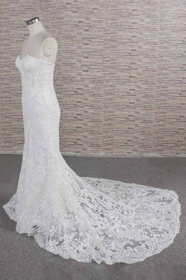 Chic Sweetheart Mermaid Lace Wedding Dresses White Sleeveless Bridal Gowns With Appliques On Sale_4