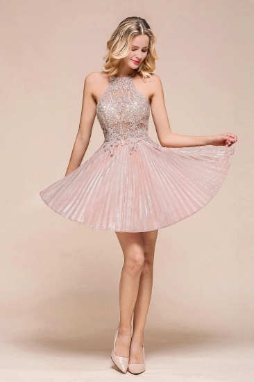 BMbridal Lovely Halter Lace Short Prom Dress Sleeveless Mini Party Gowns_6