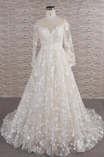 BMbridal Glamorous Jewel Longsleeves Champagne Wedding Dresses A-line Lace Bridal Gowns With Appliques On Sale_1
