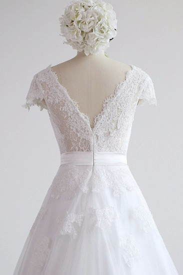 BMbridal Glamorous Shortsleeves V-neck Lace Wedding Dresses White A-line Tulle Bridal Gowns With Appliques On Sale_7