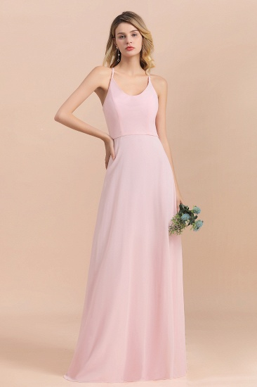 Chic Spaghetti Straps Chiffon Pink Bridesmaid Dresses with Crisscross Back_7
