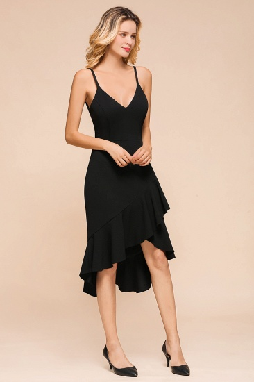 Sexy Black Spaghetti-Strap Short Prom Dress Mermaid Ruffles Homecoming Dress_7