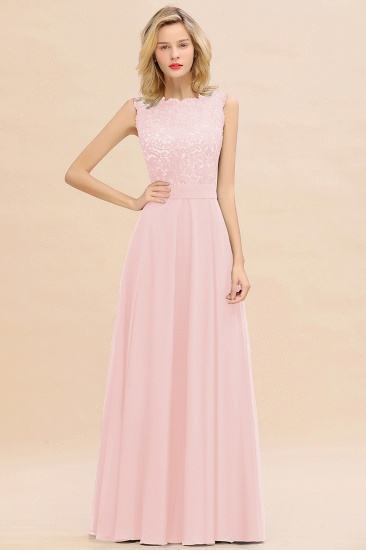 Exquisite Scoop Chiffon Lace Bridesmaid Dresses with V-Back_3