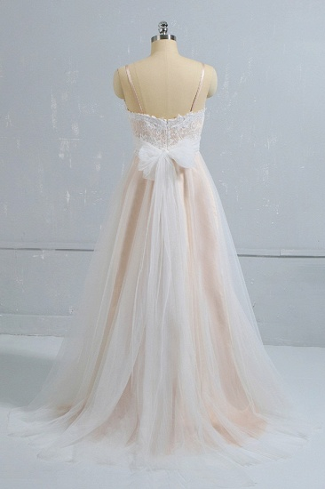 Stylish Spaghetti Straps Sleeveless Lace Wedding Dresses Champgne A-line Ruffles Bridal Gowns On Sale_3