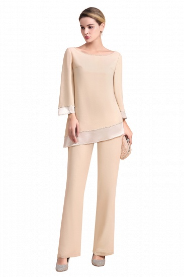 BMbridal Chic Round-Neck Champagne Chiffon Mother of Bride Jumpsuit Online_7