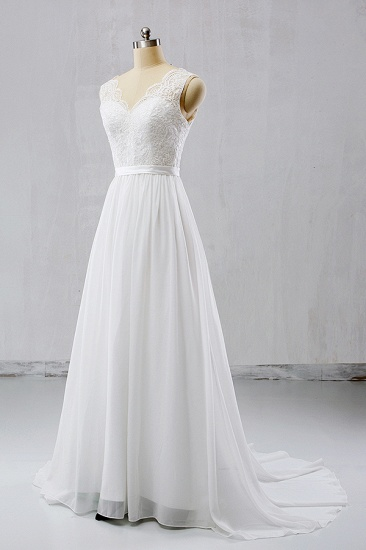 BMbridal Elegant Straps Sleeveless Chiffon Wedding Dresses White A-line Bridal Gowns Online_1