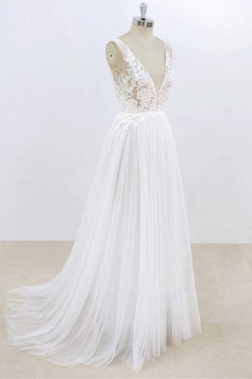 BMbridal Sexy V-neck Sleeveless Straps Wedding Dresses White Tulle Ruffles Lace Bridal Gowns Online_4