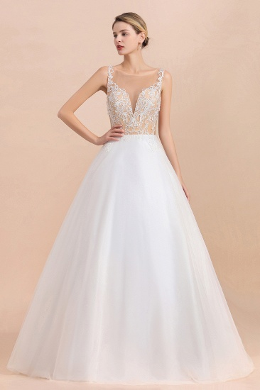 Gorgeous Tulle Lace V-Neck Sleeveless Wedding Dress Online_6