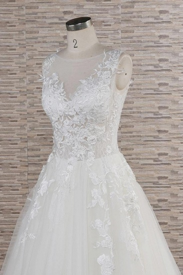 Gorgeous Sleeveless Jewel Tulle Wedding Dresses A-line Ruufles Lace Bridal Gowns With Appliques_6