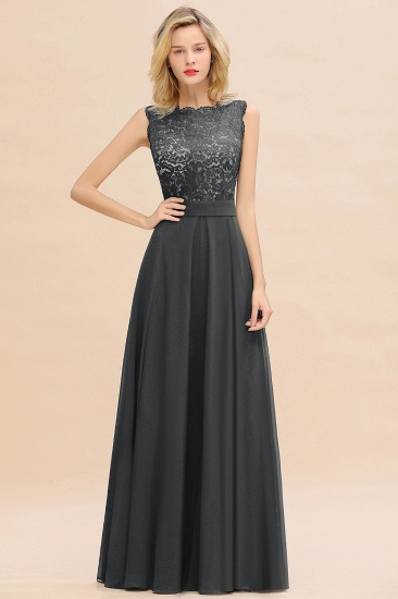 Exquisite Scoop Chiffon Lace Bridesmaid Dresses with V-Back_46