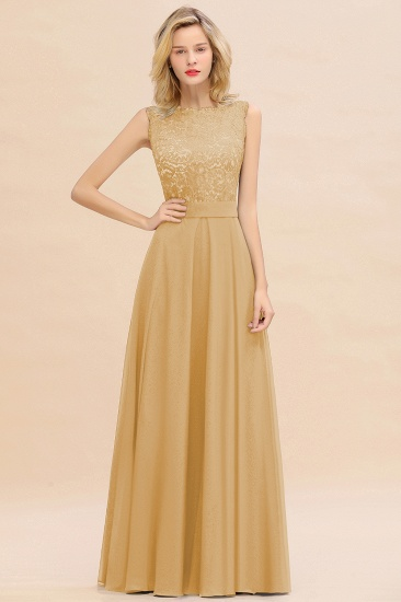 Exquisite Scoop Chiffon Lace Bridesmaid Dresses with V-Back_13