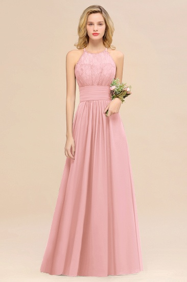 Elegant Halter Ruffles Sleeveless Grape Lace Bridesmaid Dresses Cheap_4