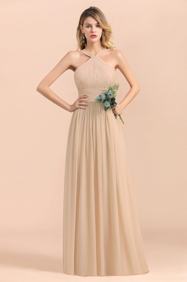 Gorgeous Straps Sleeveless Champagne Chiffon Affordable Bridesmaid Dresses Online with Ruffle