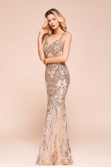 BMbridal Gorgeous Champagne Sequins Mermaid Prom Dress Long Evening Gowns Online_4