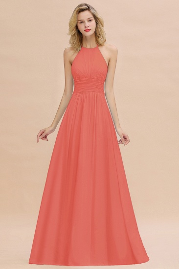 Glamorous Halter Backless Long Affordable Bridesmaid Dresses with Ruffle_7