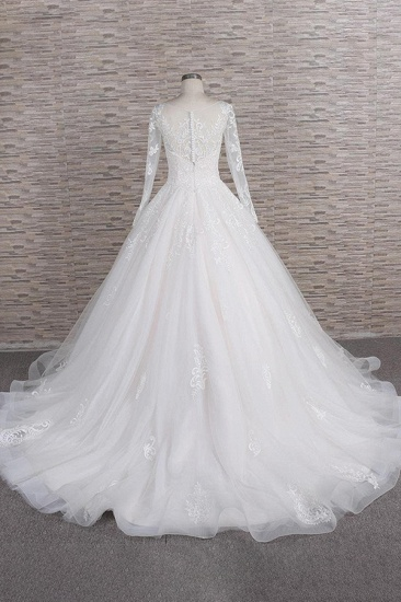 BMbridal Chic Longsleeves Jewel Tulle Wedding Dresses A-line Bridal Gowns With Appliques Online_3