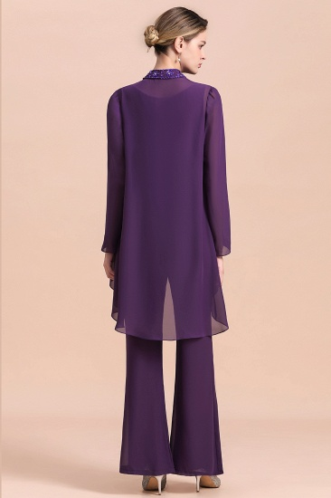 Affordable Straps Beading Grape Chiffon Mother of Bride Jumpsuit Online with Wrap_3