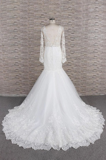 BMbridal Modest Longsleeves jewel Mermaid Wedding Dresses White Tulle Lace Bridal Gowns With Appliques Online_3