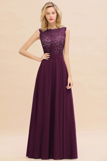 Exquisite Scoop Chiffon Lace Bridesmaid Dresses with V-Back_20