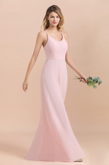 Chic Spaghetti Straps Chiffon Pink Bridesmaid Dresses with Crisscross Back_8