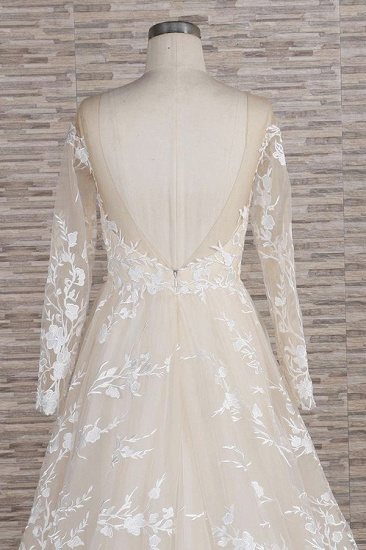 BMbridal Glamorous Jewel Longsleeves Champagne Wedding Dresses A-line Lace Bridal Gowns With Appliques On Sale_7