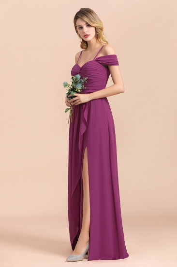 Gorgeous Off-the-Shoulder Ruffle Orchid Bridesmaid Dress Online with Slit_7