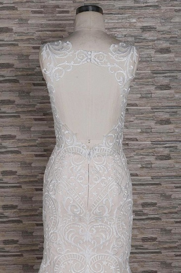BMbridal Affordable Sleeveless Straps Champagne Wedding Dress Mermaid Lace Bridal Gowns With Appliques On Sale_5