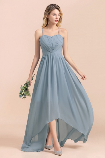 Gorgeous Hi-Lo Heart-Shaped Ruffle Bridesmaid Dress with Spaghetti Straps_6