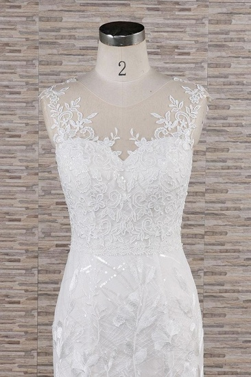 BMbridal Gorgeous Sleeveless Straps Lace Wedding Dresses Jewel Straps Mermaid Bridal Gowns With Appliques On Sale_5