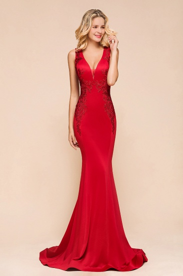 Gorgeous Red Mermaid V-Neck Prom Dress Long With Lace Appliques Online_5