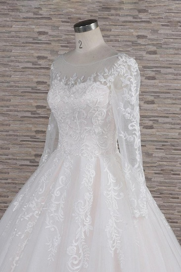 BMbridal Chic Longsleeves Jewel Tulle Wedding Dresses A-line Bridal Gowns With Appliques Online_6