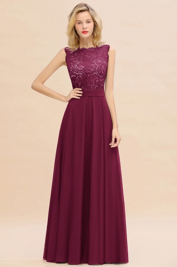 Exquisite Scoop Chiffon Lace Bridesmaid Dresses with V-Back_44