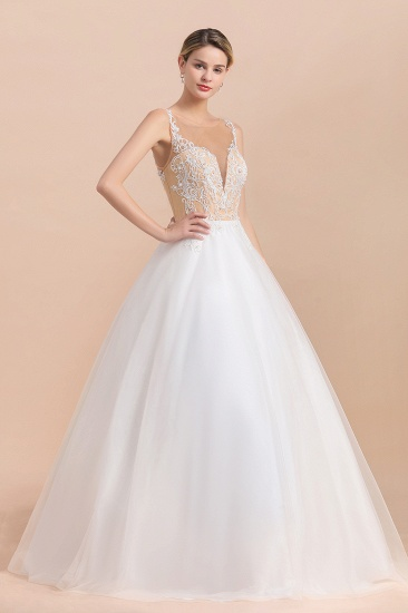 Gorgeous Tulle Lace V-Neck Sleeveless Wedding Dress Online_7